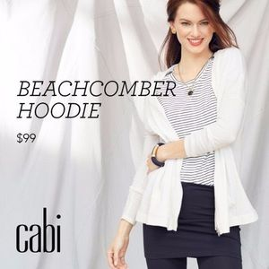 Cabi white beachcomber zip up sweater hoodie, XS